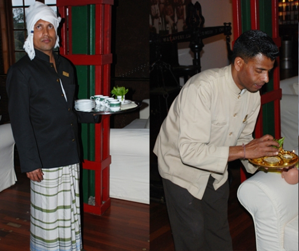 Traditional welcome by the hotel staff wearing traditional Kandyan costume