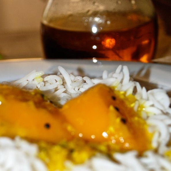 Plain white Rice - the perfect meal partner to this Mango Lentil Soup/Aam Dal