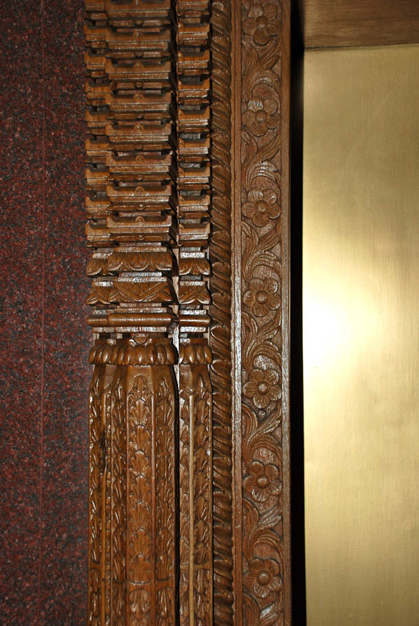 The intricate wood work in the hotel lobby