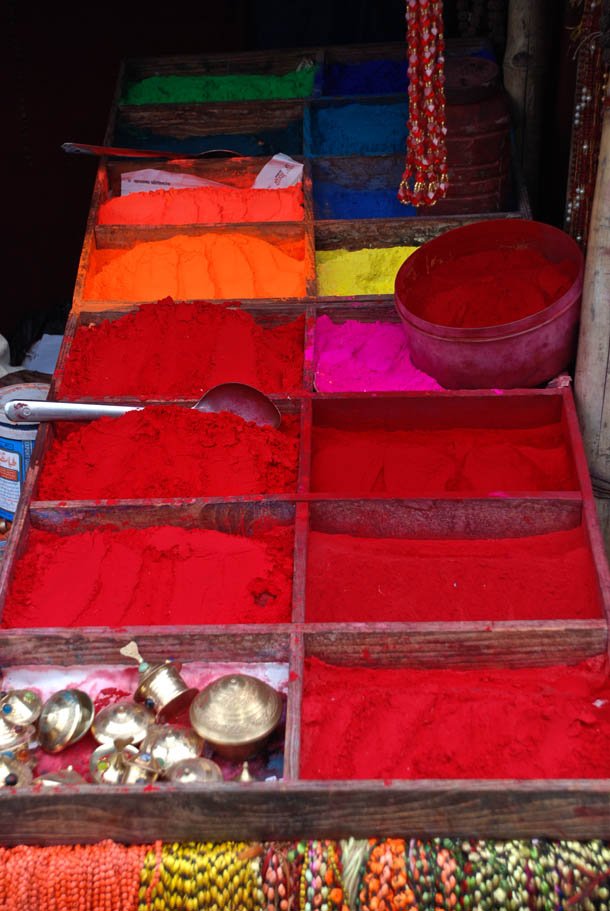 Sindoor (Vermillion) & other Coloured powder - for smearing on the forehead after the Puja/Worship