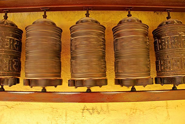The auspiscious prayer wheels as they spin