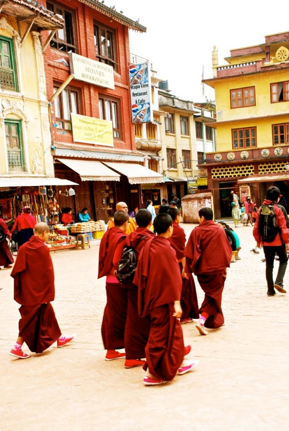 Buddhist Monks at Boudhanath Stupa