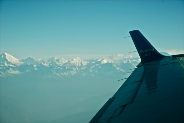 The 1-hour Everest Experience from the windows - Buddha Air peeping through!