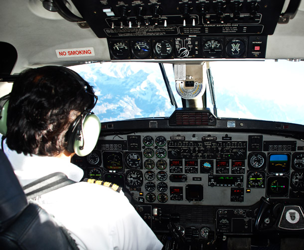 From the cockpit - as we approach Mt Everest