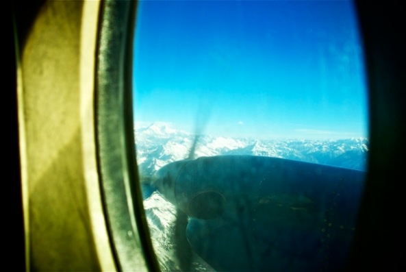 The various peaks and summits of the Himalaya from the windows