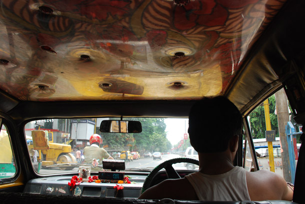 The ceiling inside an Ambassador taxi - where will I find art next? On the lamp-post, perhaps!