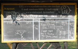 Timetable for the day for each group listed on the blackboard