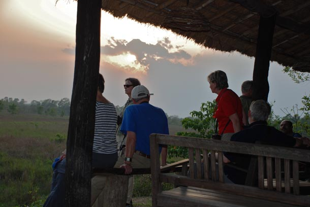 Tourists watching the sunset