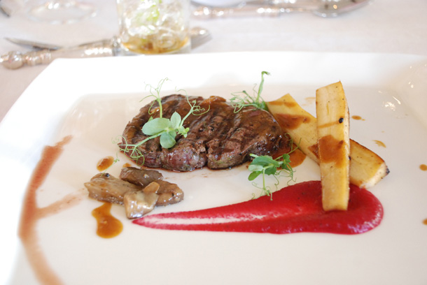Wagyu Beef Fillet with a Beetroot Mousse, sautéed Wild Mushrooms, glazed Parsnips and a Shallot Jus