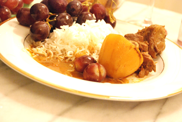 Mutton Kassa With Red Wine & Red Grapes