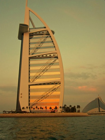 Sunset reflected on Burj al Arab