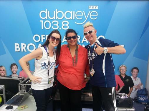 With Michelle Loxton and Mark Lloyd from Dubai Duty Free Tennis Championship