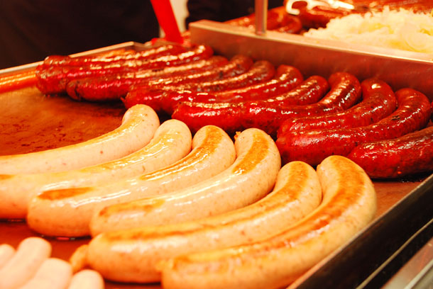 A variety of Czech sausages in a roadside kiosk in Prague