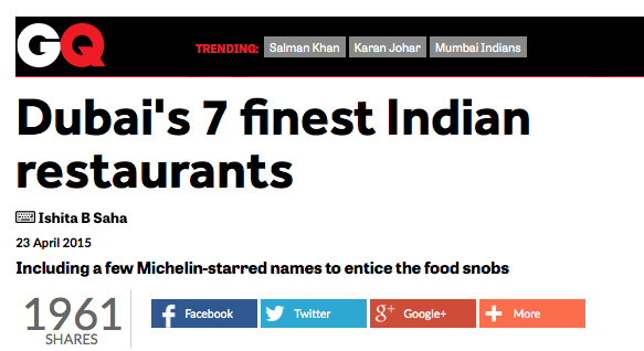 Dubai's 7 finest Indian restaurants; 23 April, 2015