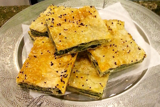 Spanakopita - crispy filo Greek style pastry , with Spinach and Feta Cheese
