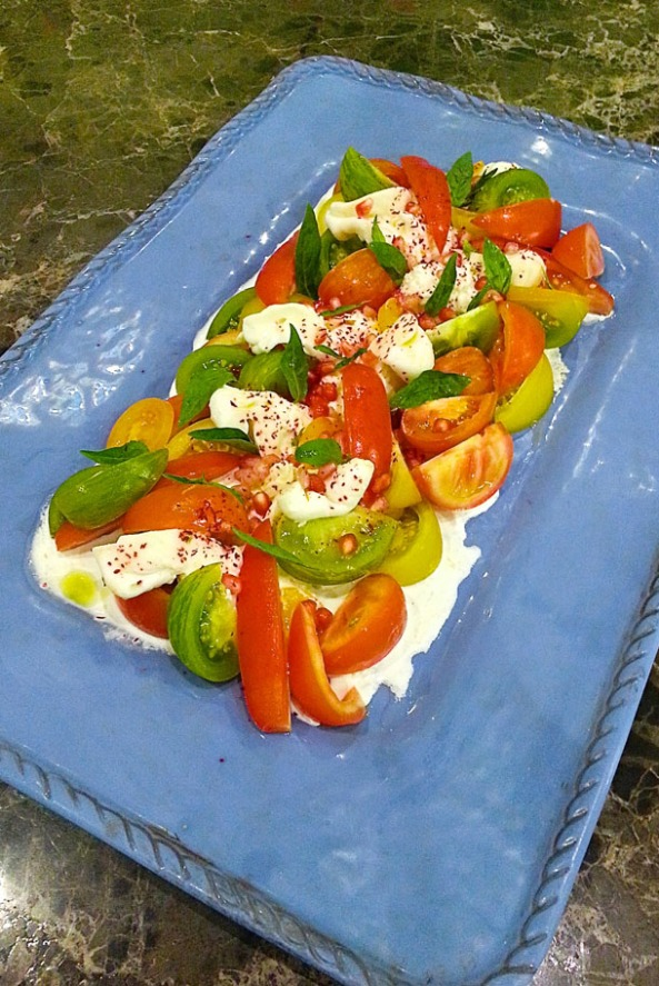 Heritage Tomatoes, Emirati Burrata with Pomegranate & Sumac dressing