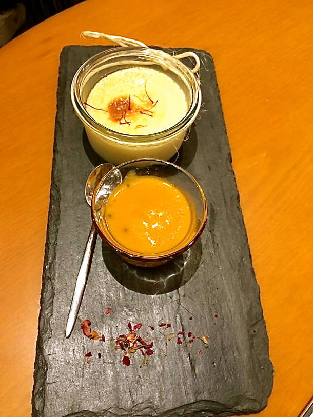 Mishti Mukh or the sweet signoff - Mishti Doi and Aamer Chutney Sorbet; Photo Courtesy: Dima