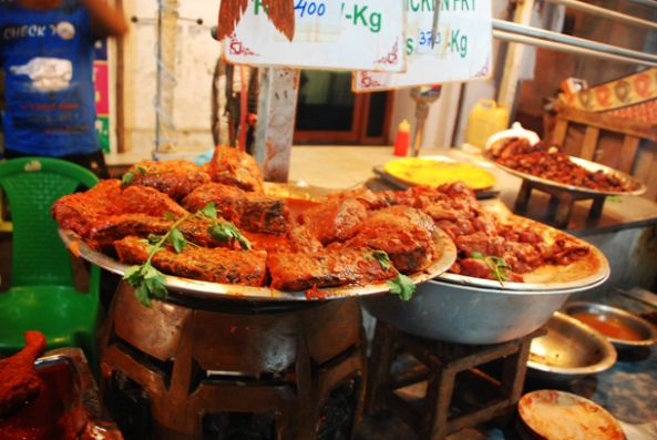 MArinated fish in the Ramadan market in Zakaria Street