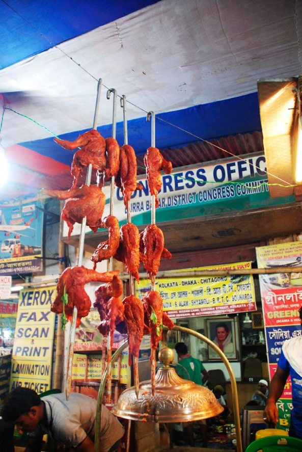 Marinated chicken legs in the Ramadan market in Zakaria Street