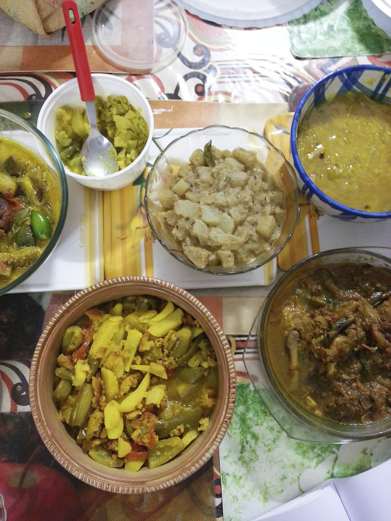 Traditional Bengali meal at Ma's place