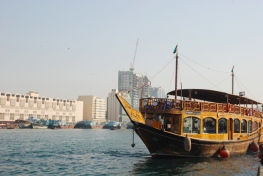 Traditional wooden dhow in Dubai Creek