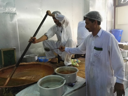 Stir until the Halwa thickens into a consistent paste
