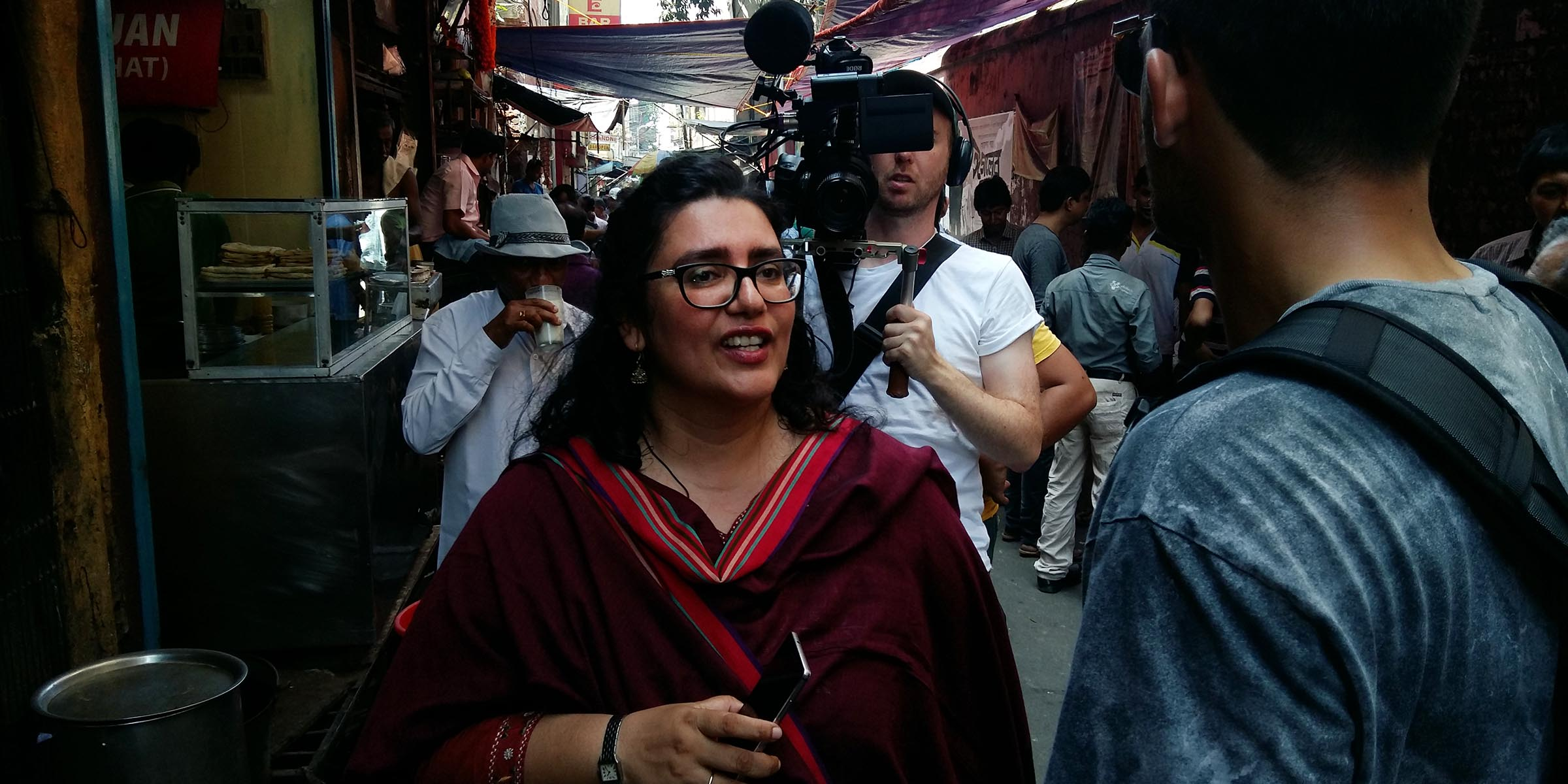 Ishita B Saha Presenting Kolkata's street food by presenting Chittobabur Dokan in Dacres Lane with BBC Travel Show UK